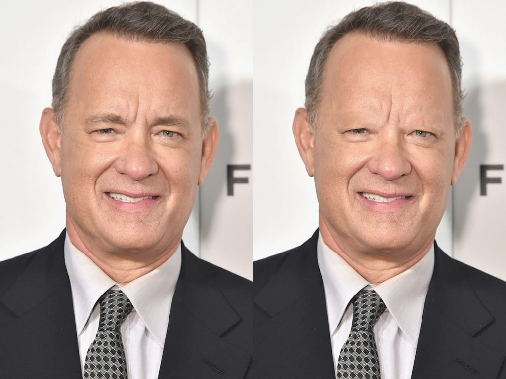 Tom Hanks without eyebrows